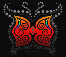 Butterfly Swirly Red by xelopid