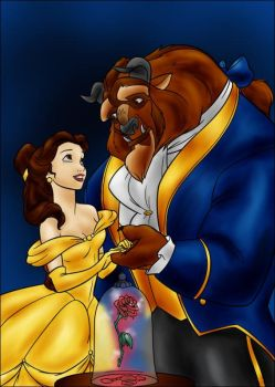 DC - Beast and Belle (color) by vanillacoke-disney