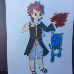 Natsu and Happy copic commission by Dizzy-tan