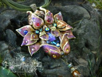 The Rose-Gold: Elven Crystal Blossom pendant by EMasqueradeGallery