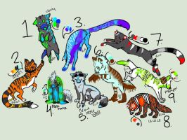 PRICE LOWERED Song inspired adopts 2 {2/9 open} by Flare-goes-OM-adopts