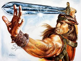 Conan the barbarian painting movie poster arnold s by SpirosSoutsos