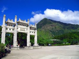 Arches at the Giant Buddha by Saffiter