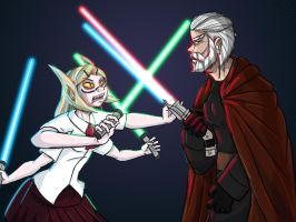 Dooku and Grieve-tan by Dasutobani