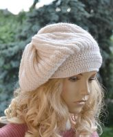 Knitted and crochet cap/hat - cream color by dosiak