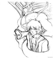 Sketch - Thief Bakura and Diabound by kami-bakura