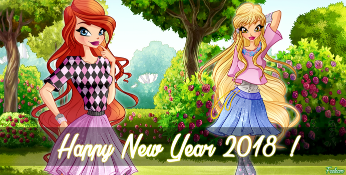 Happy New Year 2018 with the Winx Club! by Feeleam