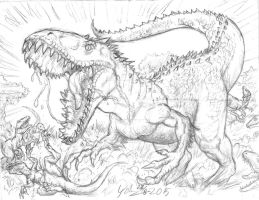 Indominus Rex Vs Velociraptors by Artknight75