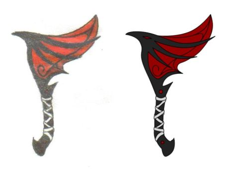 Dragon Hatchet (Drawing) by Dead-Vixen