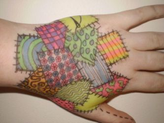 patchwork hand doodle by almostexpelled