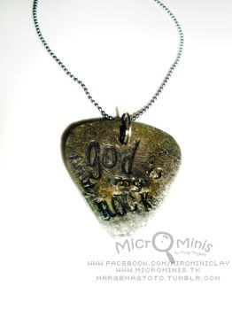 God is my rock guitar pick pendant by margemagtoto