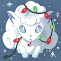 Christmas Alolan Vulpix by TiaLorelei