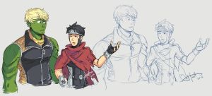 Young Avengers - Hulkling + Wiccan doodles 1 by msloveless