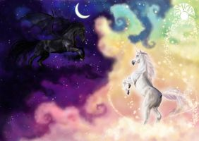 Night and Day horses by Nismiana