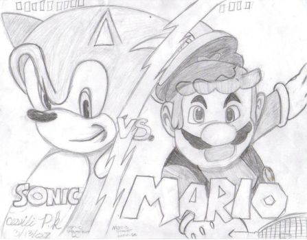 Mario vs. Sonic by monkeyzblu