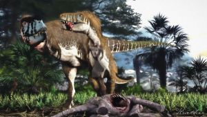 Tarbosaurus Adult and Juvenile by PaleoGuy