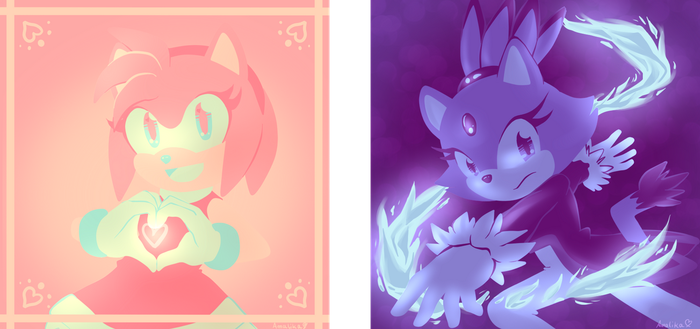 Color scheme challenges - Amy and Blaze by Amalika