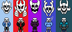 Sans and gaster blasters from different aus by flambeworm370