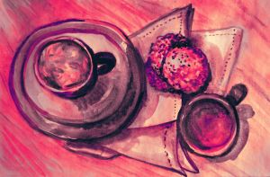 Tea time watercolor painting of tea cups by oanaunciuleanu