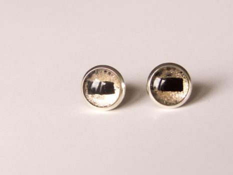 Stud earrings with hand painted glass, goat's eyes by OkeMani