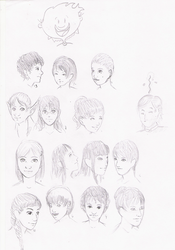 Style practice Girl's faces by TheraHedwig