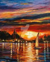 Castle By The Sea by Leonid Afremov by Leonidafremov