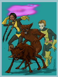 X-Men of the Day:  MIRAGE and WOLFSBANE by NelsonHernandez
