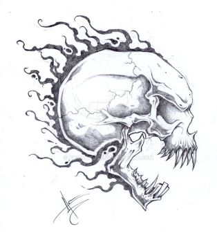 Stereotypical Skull Tattoo by ShawnCoss