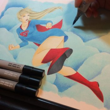 Super Girl- finishing the clouds and shaded shoe by Nana-Marchae
