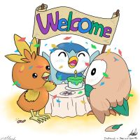 Piplup and Torchic welcome Rowlett by chelopez