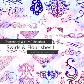 Swirls and Flourishes Photoshop and GIMP Brushes by redheadstock