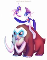 Mamoswine Shiny Porygon-Z and Shiny Gallade by francis-john
