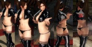 Mai black shiny jacket thigh highs by funnybunny666