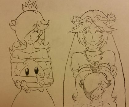 Rosalina X Palutena: Big Happy Family. by dcb2art