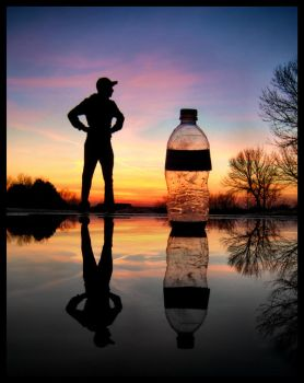 Man vs. Water Bottle by FramedByNature