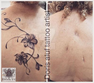 Flowers lily tattoo scars cover by doristattoo