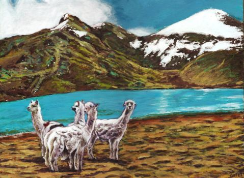 Snowy landscape with alpacas by rehash435