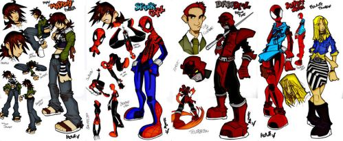 Spider-girl, Darkdevil and Scarlet spider by RBWP-BRPW