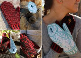 Yin and Yang Mittens by kateknitsalot