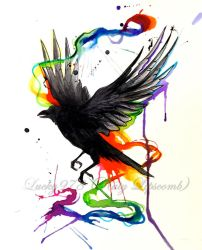 Crow watercolor Tattoo by Lucky978