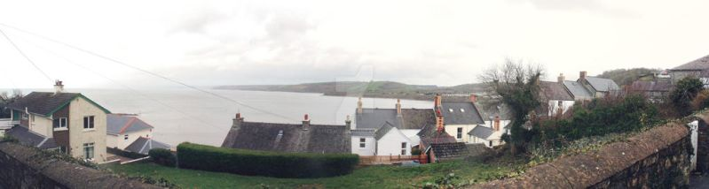 New Quay looking down Panorama by mezwik