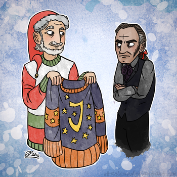 Christmas Cards 5/5: Javert Gets a Gift by Starlene