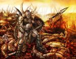 Terrible orc with spear standing on battlefield by Likozor