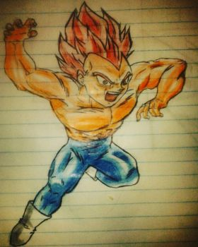 vegeta dios rojo by luroper
