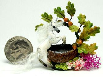 FANTASY UNICORN HORSE basket by WEE-OOAK-MINIATURES