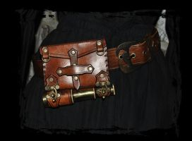 customized leather pouch  steampunk/pirate by Lagueuse
