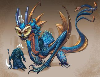 Character design challenge Dragon and rider by Onikaizer