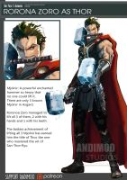 One Piece Avenger Rorona Zoro as Thor by AndiMoo