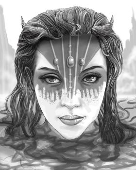 Girl in the water by RaeCabaret