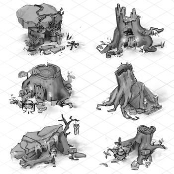 Mystic hut isometric sketches by NickProkoArt